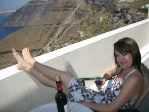Enjoying vino and the views