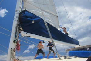 Hoisting the sail